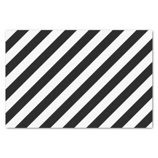 Fancy Black and White Diagonal Striped Pattern Tissue Paper
