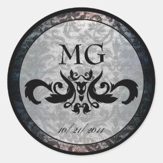 Fancy Black Damask Gothic Stickers/Envelope Seals Round Sticker