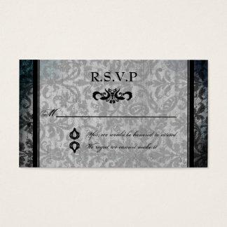 Fancy Black Damask Monogram Reception RSVP Card