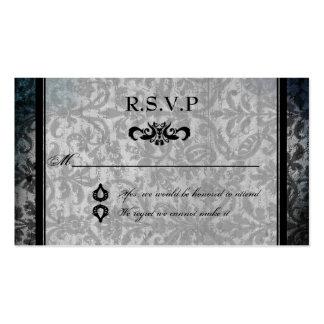 Fancy Black Damask Monogram Reception RSVP Card Pack Of Standard Business Cards