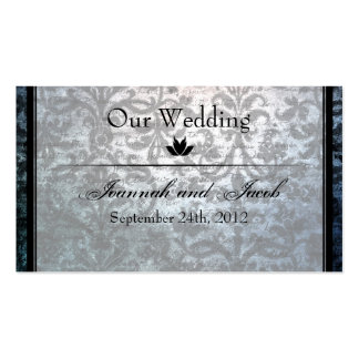 Fancy Black Damask Wedding Website Card Double-Sided Standard Business Cards (Pack Of 100)
