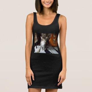 Fancy Black Tank Dress w. Cute Cat and Fairy Image