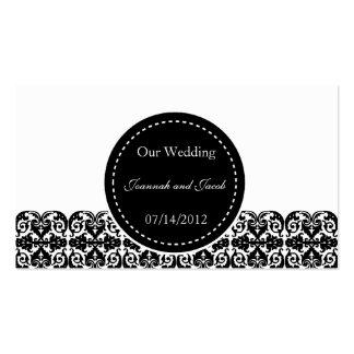 Fancy Black & White Damask Wedding Website Card Pack Of Standard Business Cards