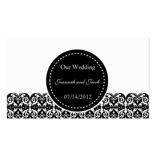 Fancy Black & White Damask Wedding Website Card Business Cards