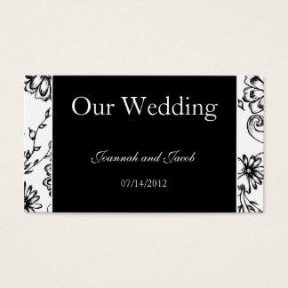 Fancy Black & White Floral Wedding Website Card
