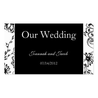Fancy Black & White Floral Wedding Website Card Double-Sided Standard Business Cards (Pack Of 100)