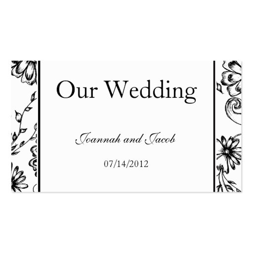 Fancy Black & White Floral Wedding Website Card Business Card Template
