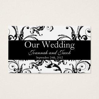 Fancy Black & White Flourish Wedding Website Card