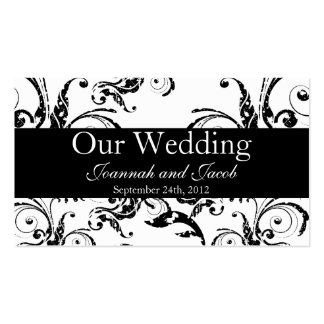Fancy Black & White Flourish Wedding Website Card Business Card Templates