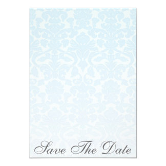 Fancy Blue Damask Save The Date Announcement