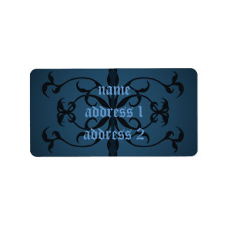 Fancy blue Gothic address or book labels