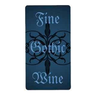 Fancy blue Gothic long bottle lable to personalize