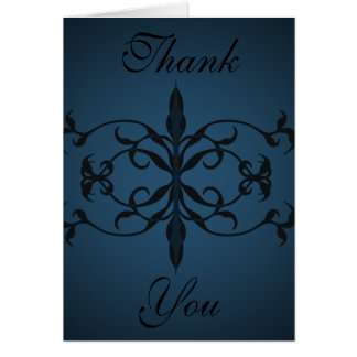 Fancy blue Gothic Thank you card to personalize