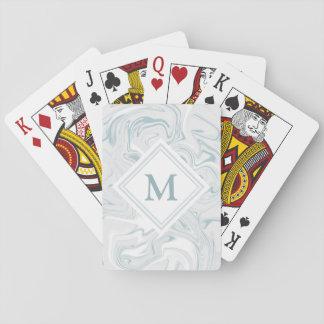 Fancy Blue Marble Look Diamond Monogram Playing Cards