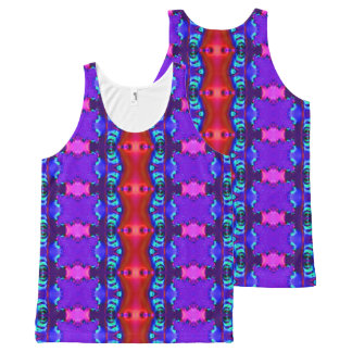Fancy blue red design All-Over print tank top