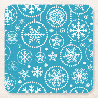 Fancy Blue Snowflake Shower Square Paper Coaster