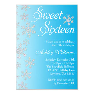 Fancy Blue Snowflakes Winter Wonderland Sweet 16 11 Cm X 16 Cm Invitation Card