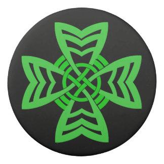 Fancy Bold Irish Abstract Green Celtic Knot Symbol Eraser