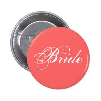 Fancy Bride On Coral 6 Cm Round Badge