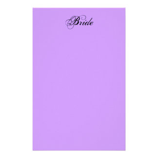 Fancy Bride On Lavender Stationery Design