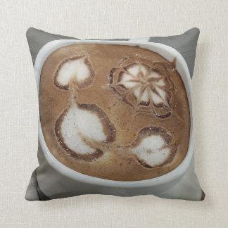 "Fancy Brown Cafe Designer Throw Pillow 16"" x 16"""