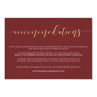 Fancy Burgundy & Gold Wedding Accommodations Cards