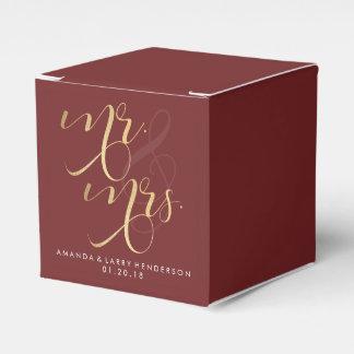 Fancy Burgundy & Gold Wedding Favor Box