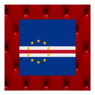 Fancy Cape Verde Flag on red velvet background