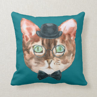 Fancy Cat Lovers Decor Top Hat Glasses Bow Tie Cushion