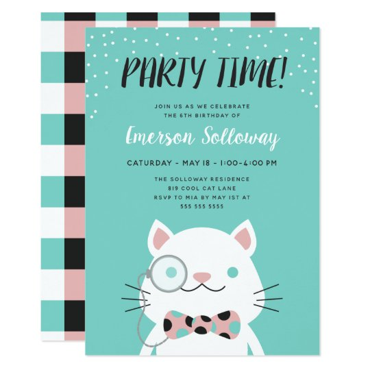 Fancy Cat Turquoise Kids Birthday Party Card