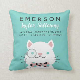 Fancy Cat with Monocle Birth Stats Cushion