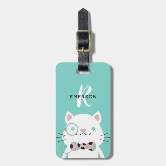 Fancy Cat with Monocle   Monogram Luggage Tag