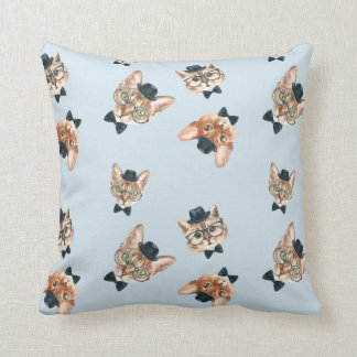 Fancy Cats Watercolor Throw Pillow