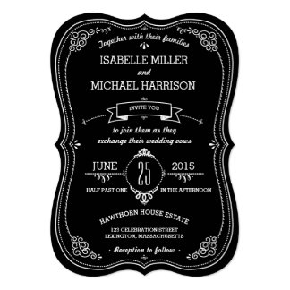 Fancy Chalkboard Vintage Bracket Wedding Card