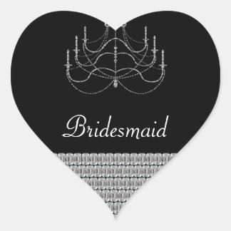 Fancy Chandelier And Diamonds Shimmer Wedding Heart Sticker