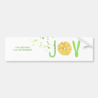 Fancy Christmas JOY green candy cane lemon script Bumper Sticker
