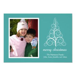 Fancy Christmas Tree Card (Aqua) 13 Cm X 18 Cm Invitation Card