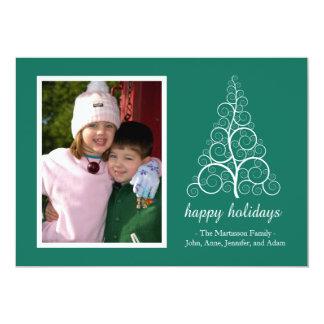 Fancy Christmas Tree Card (Green) 13 Cm X 18 Cm Invitation Card