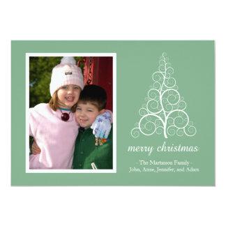 Fancy Christmas Tree Card (Mint Green) 13 Cm X 18 Cm Invitation Card