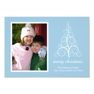 Fancy Christmas Tree Card (Sky Blue) 13 Cm X 18 Cm Invitation Card