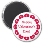 Fancy circle of red hearts Valentine's day 6 Cm Round Magnet