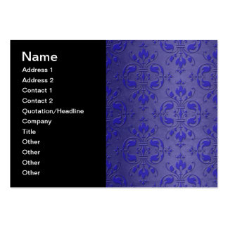 Fancy Cobalt Blue over Dusty Blue Damask Pack Of Chubby Business Cards