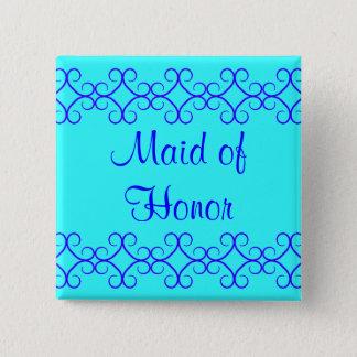 Fancy colorblock blue colors Bridesmaid 15 Cm Square Badge