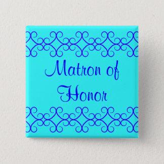 Fancy colorblock blue colors matron of honor 15 cm square badge