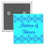 Fancy colorblock blue colours matron of honour badge