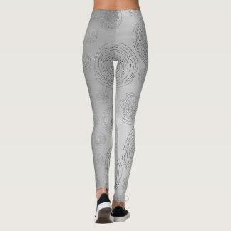 Fancy Conceptual Circles Silver Gray Spiral Leggings