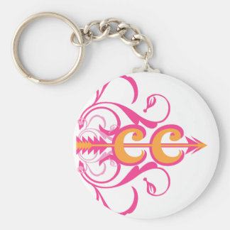 Fancy Cross Country Running Symbol Basic Round Button Key Ring