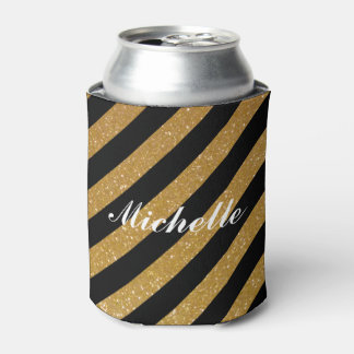 Fancy custom name gold glitter striped can coolers