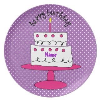 Fancy Custom Polka Dot Birthday Plate for Girls