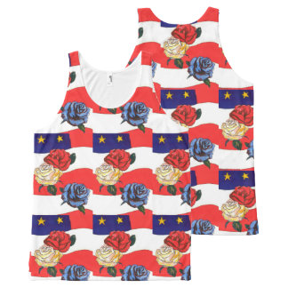 Fancy Cute Red White Blue Star USA Flag and Roses All-Over Print Singlet